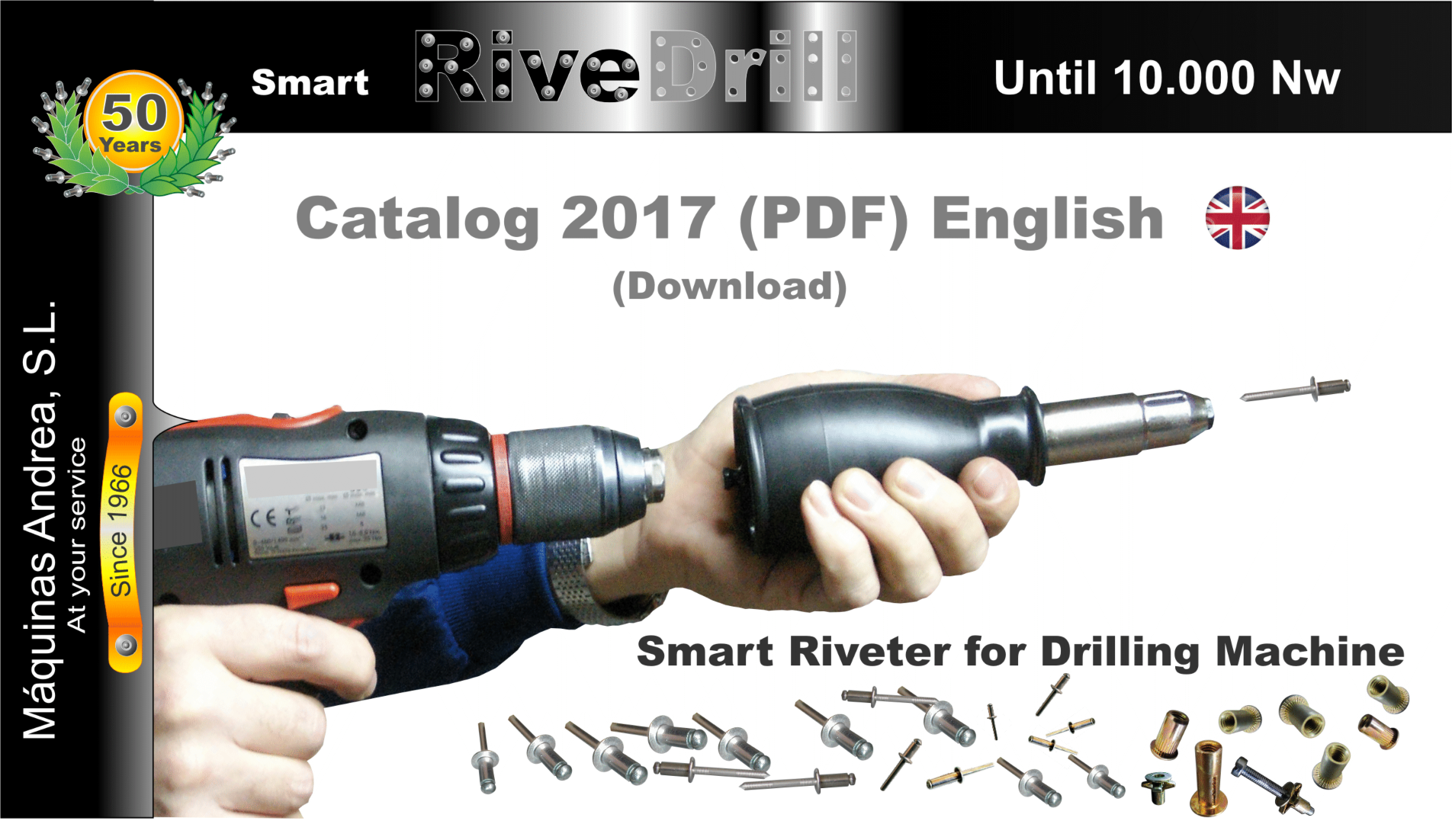 Riveter for drill, riveting tool